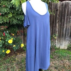 NWT Splendid Blue Cold-Shoulder Dress Size Small